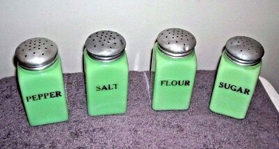 Mckee Jadeite Jadite Sugar Flour Salt Pepper Shakers Range Set