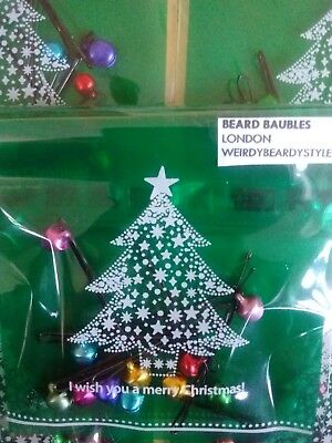 Beard baubles Xmas fun pack of 10 mini jingle bell bauble clips NEW Pack