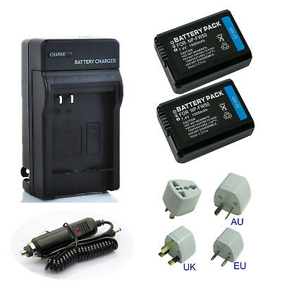 2-Pcs NP-FW50 Li-Ion Battery With Rapid Charger For Sony A6000 A3000 A5000 A6300