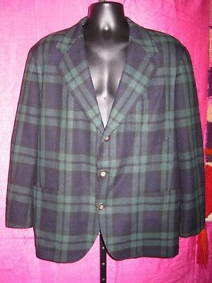 60s 70s size 42R SOUTHWICK Wool Plaid BLAZER Trad Preppy Leather Patch Elbow VTG