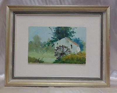 Signed Estate Antique Home & Watermill Landscape Oil Painting on Board (Framed)