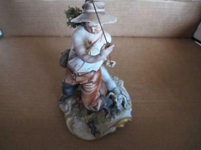 Lovely Capodimonte Figure - Fisherman With His Dog By IPA