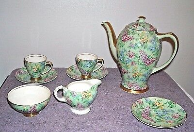 Empire Chintz Lilac Time Coffee Pot Dematisse Cups Saucers Open Sugar Creamer