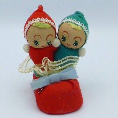 "Vintage Twin Baby Elf Pixie Pair in Booty Christmas Figurine Nylon Faces 4"" Tall"