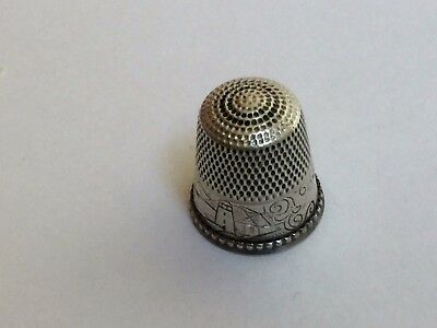 Antique Light House Sail Boat Scene Sterling Silver Sewing Thimble