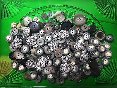 Grey Plastic Buttons Lot Of 160count