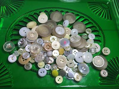 Yellow/White Plastic Buttons Lot of 120count