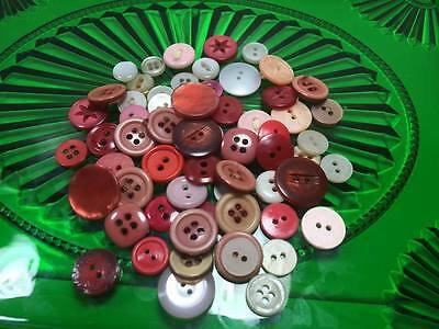 Red Plastic Buttons Lot of 60count