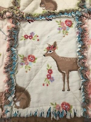 Crib Size Child Rag Quilt Brown Gray Lined 100% Cotton flannel