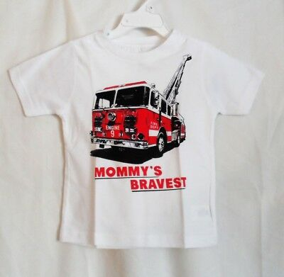 Boys 2T White Mommy's Bravest Firetruck S/s Shirt Nwt ~ The Children's Place