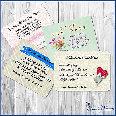 10 Personalised Wedding Save The Date Day Cards With Envelopes High Quality Card