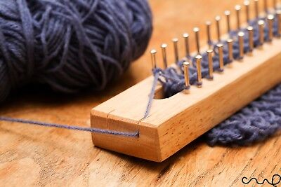 Wooden Knitting Loom Fine Gage Board with Loom Hook & Needle 30 40 62 102 Pins