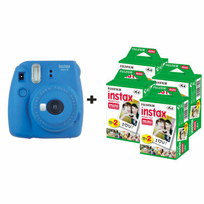 Fujifilm Instax Mini 9 Instant Camera with 80 Shots - Cobalt Blue