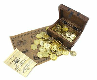 WellPackBox Wooden Pirate Treasure Chest Box 144 Gold Coins Treasure Map and P