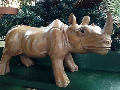 Large Hand Carved Wooden African Rhinoceros Figure African Art Tan Wood Heavy