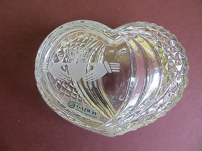 Irish Galway Crystal Small Lidded Claddagh Friendship Heart Trinket Dish Pot Box