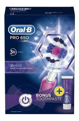 Oral-B PRO 650 Electric Rechargeable 3D White Toothbrush and Toothpaste Set-Pink