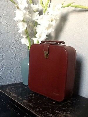 Small Vintage Utilitarian Brown Leather Case-Dictaphone #3947