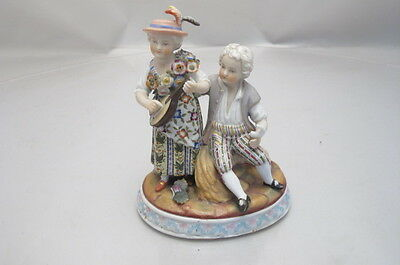 Antique Sitzendorf Dresden Porcelain Couple Mandolin