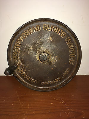 "Extremely Rare ""liberty Bread Slicing Machine"" Cast Iron Wheel W/ Wooden Handle"