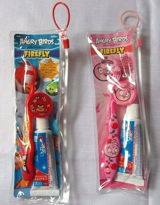 ANGRY BIRDS FIREFLY Toothbrush Kids Crest Toothpaste & Clear Pouch Travel