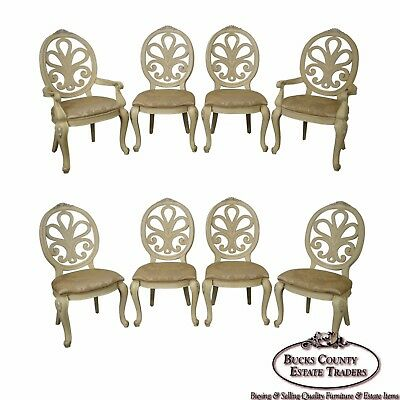 Henredon Set of 8 Paint Frame Rococo Style Carved Dining Chairs