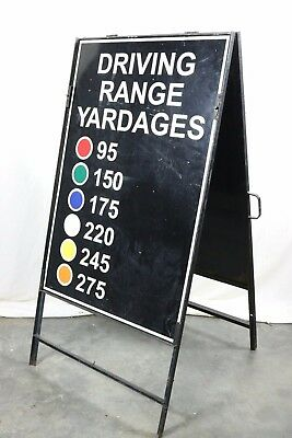 Driving Range Metal Stand Up Sign 2 Sided Golf Course Club Man Cave Garage Decor