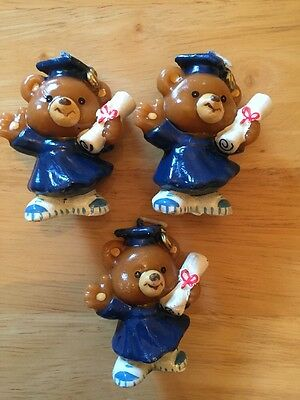 Lot Of 3 UNLIT RUSS GRADUATIONS BEARS CANDLE FIGURE HOLDING A DIPLOMA - NEW!!