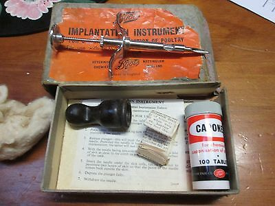 Vintage Collectable Boots Implantation Instrument Chemical Caponisation Poultry