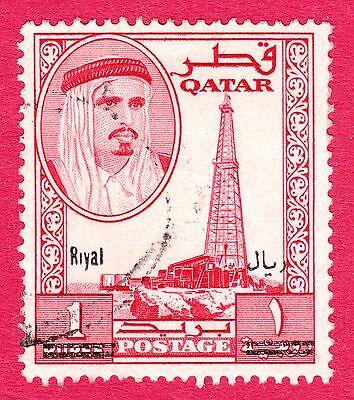 Qatar Stamps. 1966 1r on 1r Overprint. SG148. Used. #2817