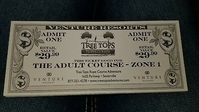 One Free Adult Course Tree Tops Ropes Course Admission Ticket SAVE! Sevierville