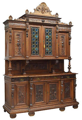 LARGE ITALIAN STAINED GLASS SIDEBOARD CABINET BOOKCASE, 19th Century ( 1800s )