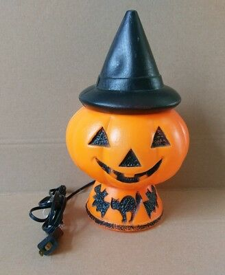 Vintage Bayshore Halloween Lighted Blow Mold Pumpkin With Witches Hat RARE