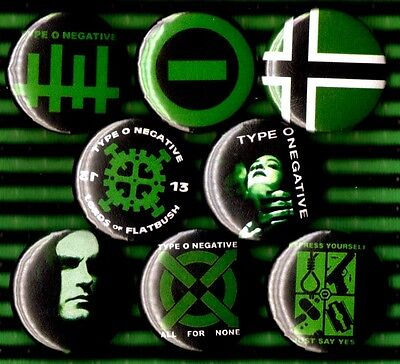 TYPE O NEGATIVE 8 NEW pins buttons badges Peter Steele Carnivore bloody kisses