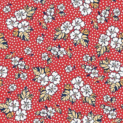 Vintage Mix & Match Flowers & Dots on Red Fabric Sold Per 1/2 Metre 100% Cotton