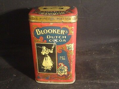 Vintage 1 Pound Blooker Dutch Cocoa Tin Can Amsterdam Holland