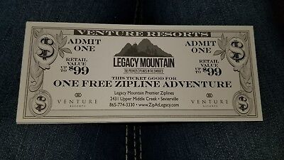 One Free zip line adventure Legacy MountainAdmission Ticket SAVE! Seveirville TN