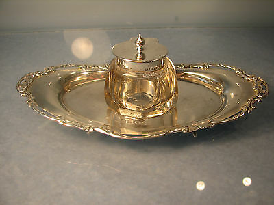 ~  1906 Edwardian Silver ink well boat shaped silver tray WHW art nouveau period