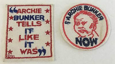 Vintage Lot Of 2 1970's Archie Bunker All In The Family Sticker Felt Patches