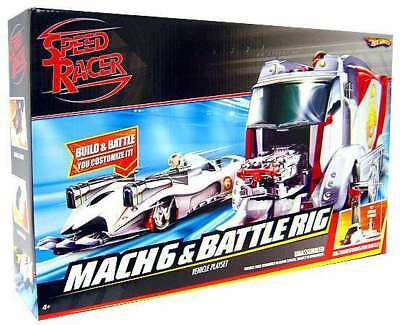 NEW - HOT WHEELS Speed Racer Mach 6 and Battle Rig (#M4210 2007) FREE SHIPPING