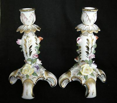 Pair of KPM Porcelain Candlesticks with Colored Roses & Gold Gilt