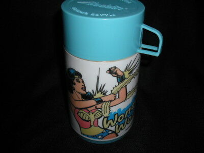 1977 Wonder Woman Thermos for Vinyl Lunch Box * Vintage * Blue VG-EXC