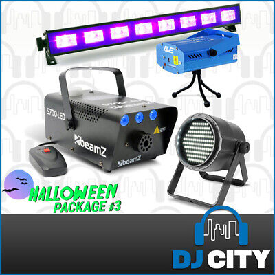 Halloween Light Pack with Smoke Machine, Laser, LED Strobe & 60cm UV Black Light