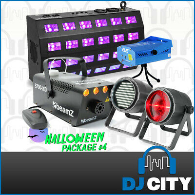 Halloween Light Pack with Smoke Machine, Laser, Strobe & LED UV Black Light
