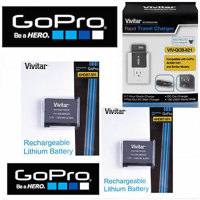 2X Battery for GoPro HERO6 BLACK AABAT-001 + RAPID CHARGER 110-220V +TRIPOD