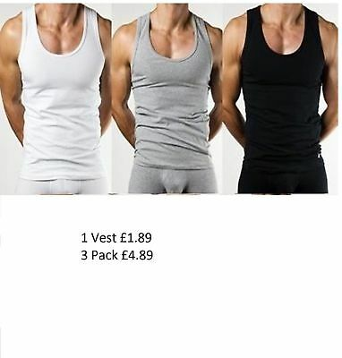 NEW MENS BOYS VESTS OR 100% Cotton TANK TOP SUMMER TRAINING GYM TOPS PACK PLAIN