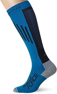 Odlo Extra Long Muscle Fo Chaussettes Compression Running Mixte Adulte, Blue Jew