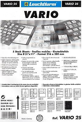 Lighthouse Vario 2S Pack Of 5 Two Strip Black Acid Free Banknote Pages