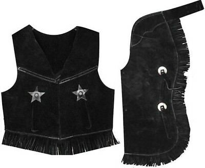 Showman BLACK SMALL Kid's Size Suede Leather Western Chaps & Vest Set! Costume!