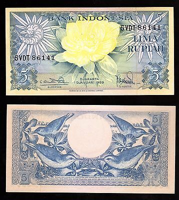 Banknote World Indonesia In Asia, 1 Pce  Of 5 Rupiah 1959, P-65  From Bundle
